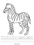 Z z Z z Z z  zebra zebra Worksheet