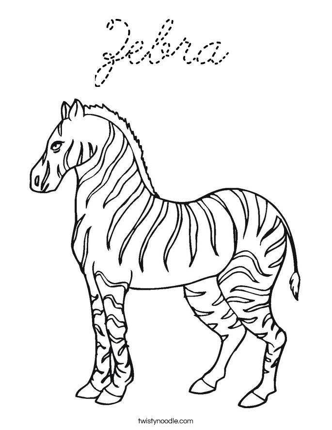Zebra coloring page cursive twisty noodle for Cursive coloring pages