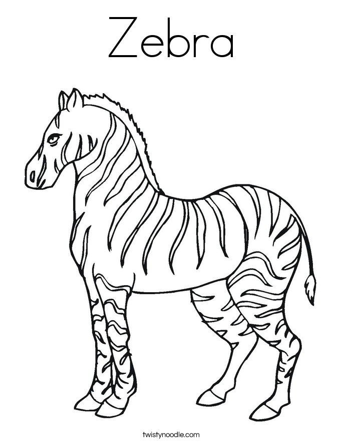Zebra coloring page twisty noodle for Twisty noodle coloring pages