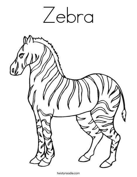 Zebra Coloring Page - Twisty Noodle