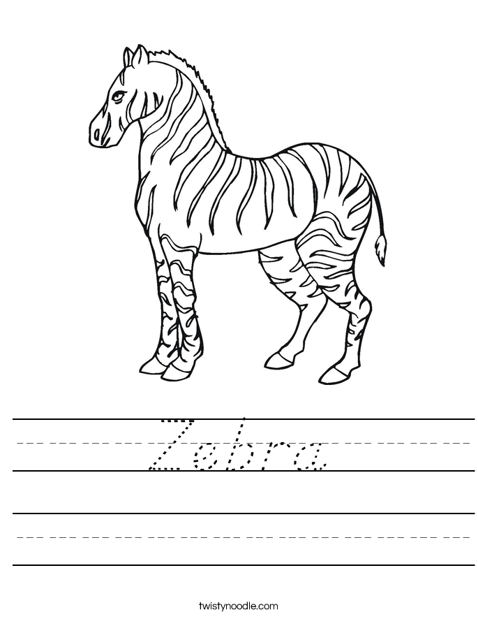 Zebra Worksheet D Nealian Twisty Noodle