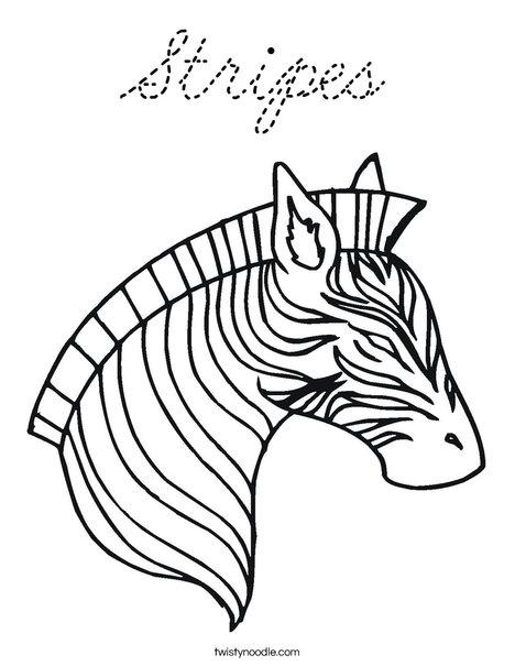Zebra Head Coloring Page