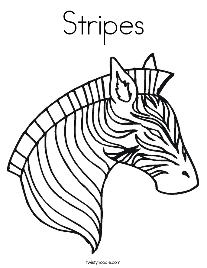 stripes coloring page - Zebra Coloring Pages