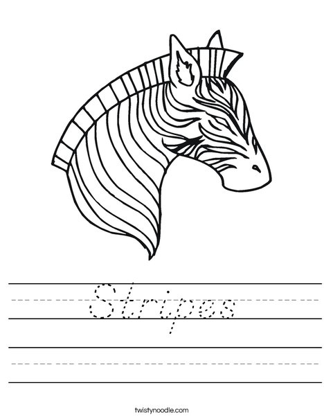 Zebra Head Worksheet
