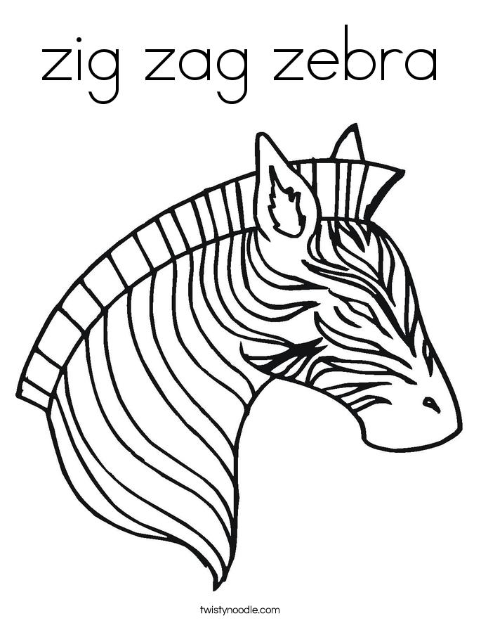 Zig Zag Zebra Coloring Page Twisty Noodle