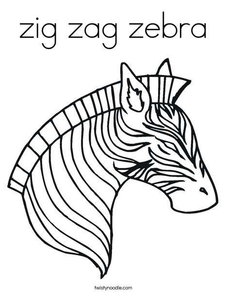 Zebra Head Coloring Page Zigzag Coloring Page
