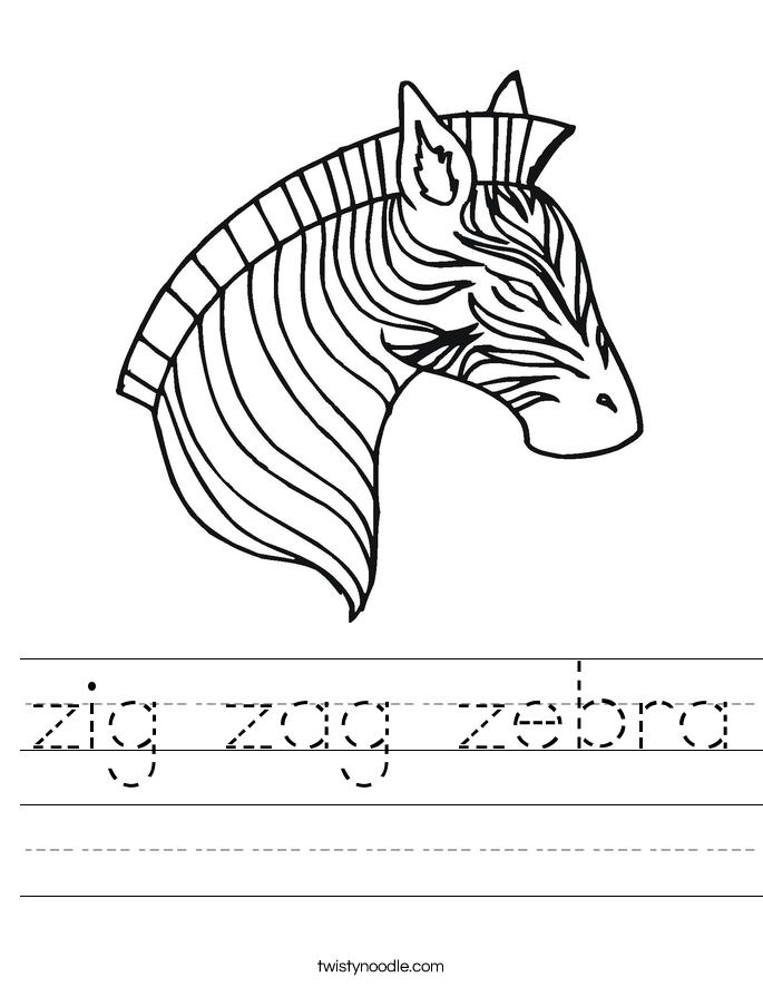 zig zag zebra Worksheet