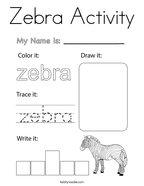Zebra Activity Coloring Page