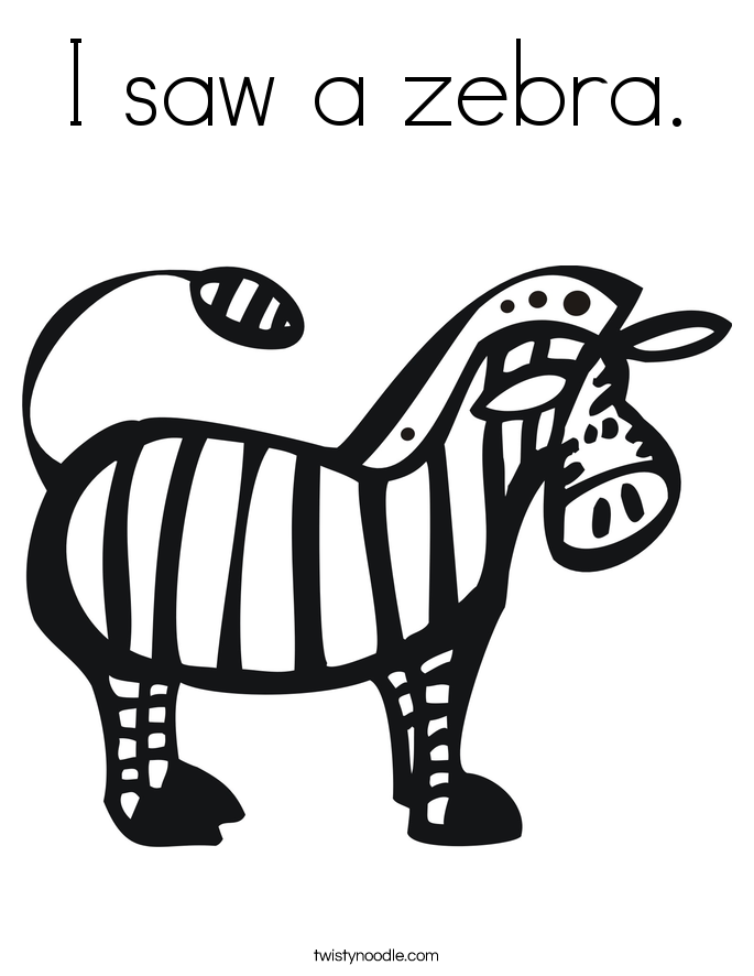I saw a zebra. Coloring Page