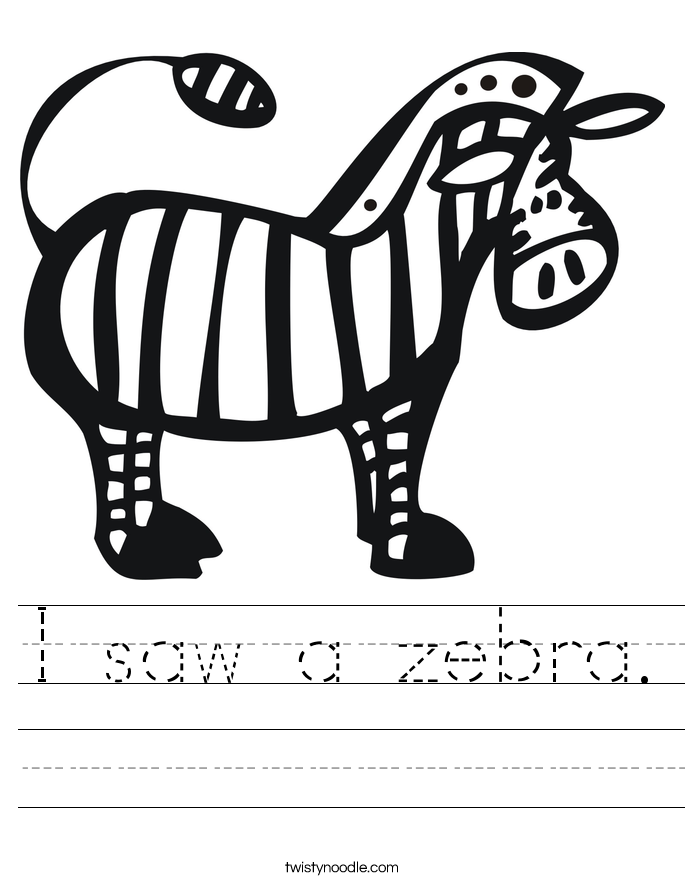 I saw a zebra. Worksheet