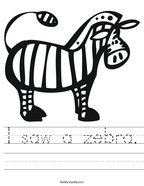 I saw a zebra Handwriting Sheet
