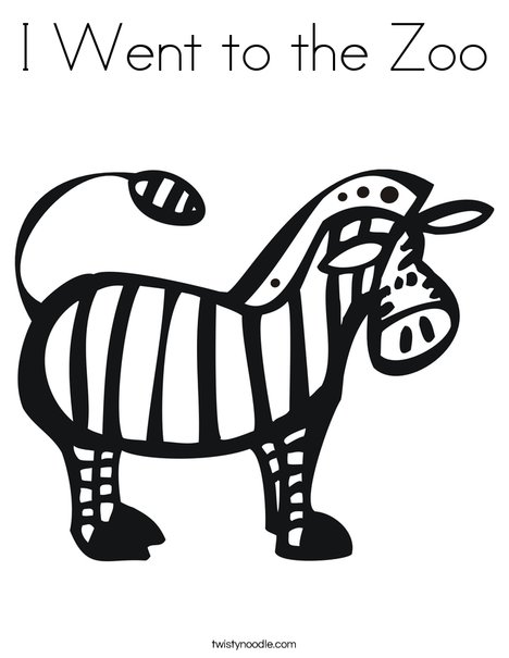 Zebra for Zoo Book Coloring Page