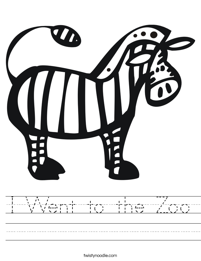 I Went to the Zoo Worksheet