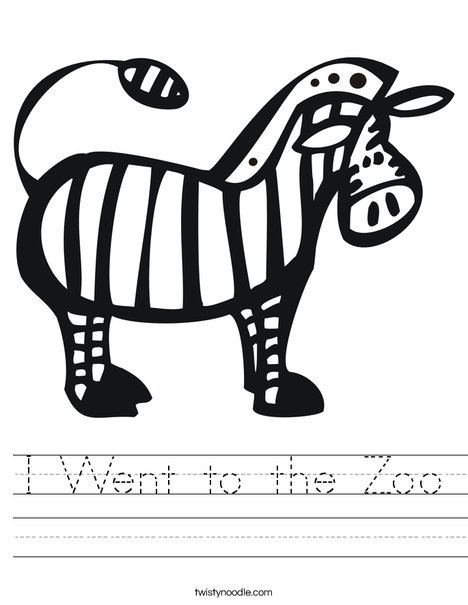 Zebra for Zoo Book Worksheet