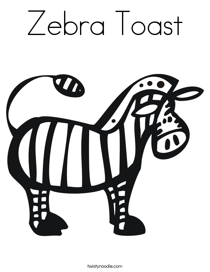 Zebra Toast Coloring Page