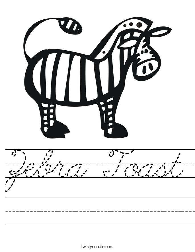 Zebra Toast Worksheet