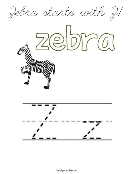 Zebra starts with Z! Coloring Page