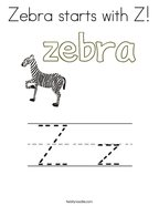 Zebra starts with Z Coloring Page