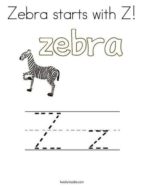 Zebra starts with Z Coloring Page - Twisty Noodle