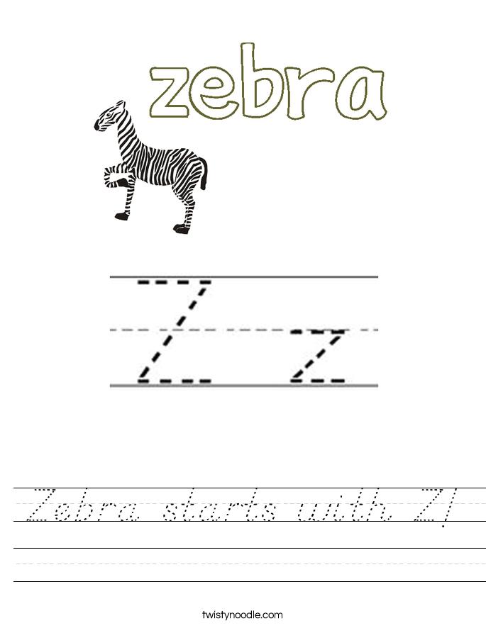 Zebra starts with Z! Worksheet