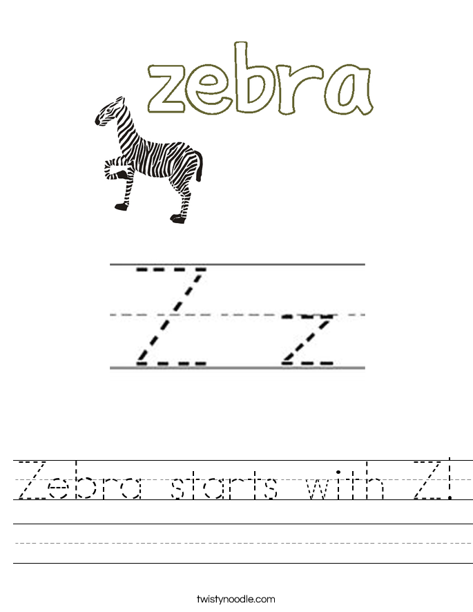 Zebra Starts With Z Worksheet