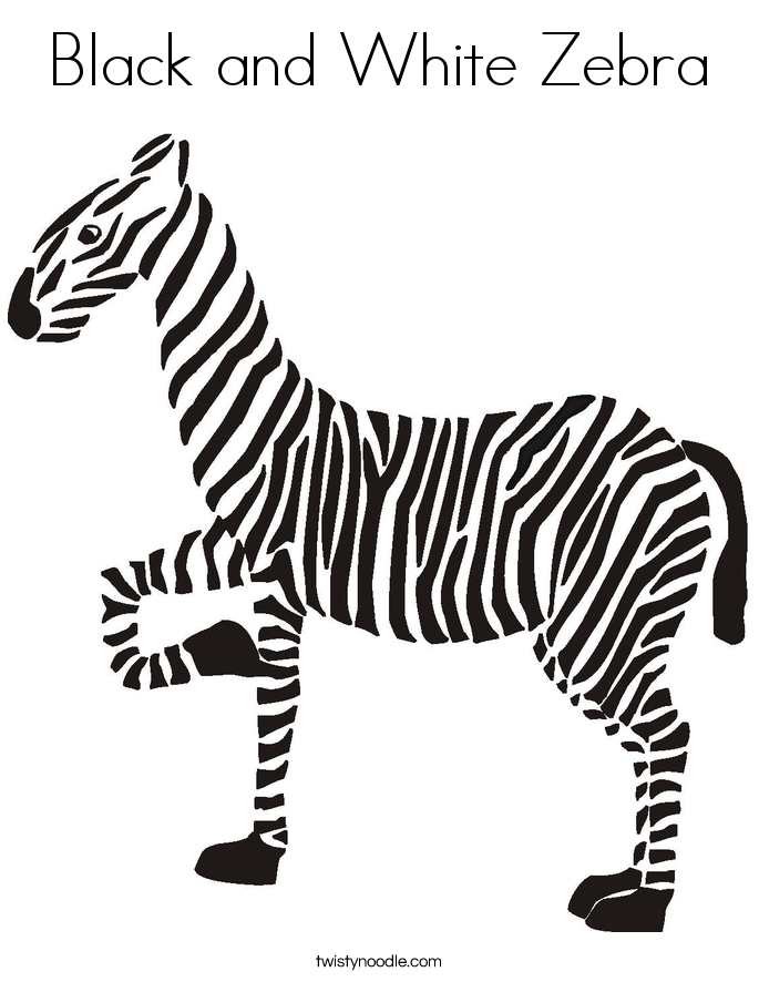 black and white zebra coloring page - Zebra Coloring Pages