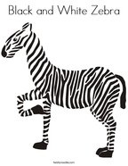 Black and White Zebra Coloring Page