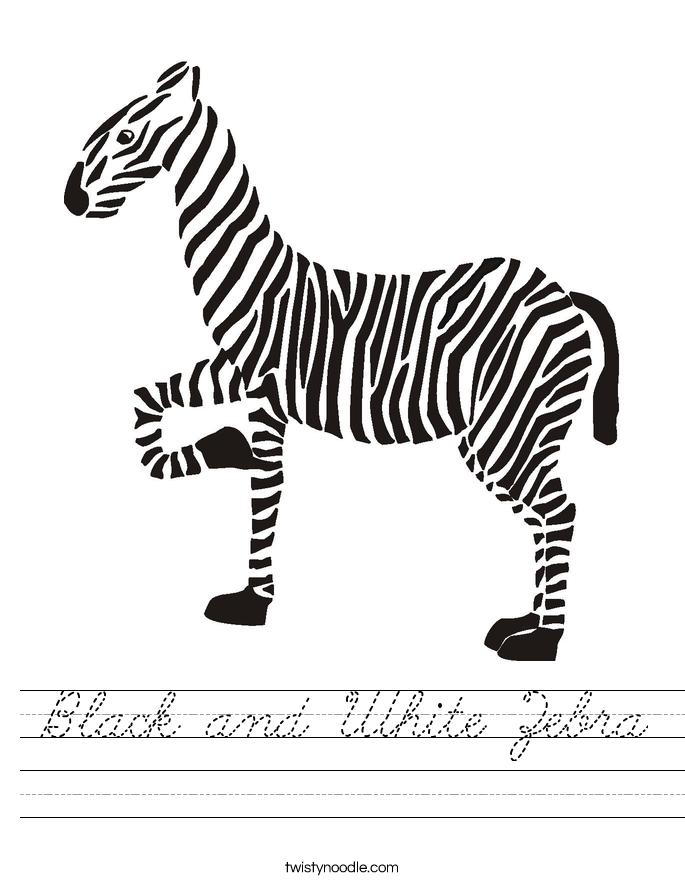 Black and White Zebra Worksheet