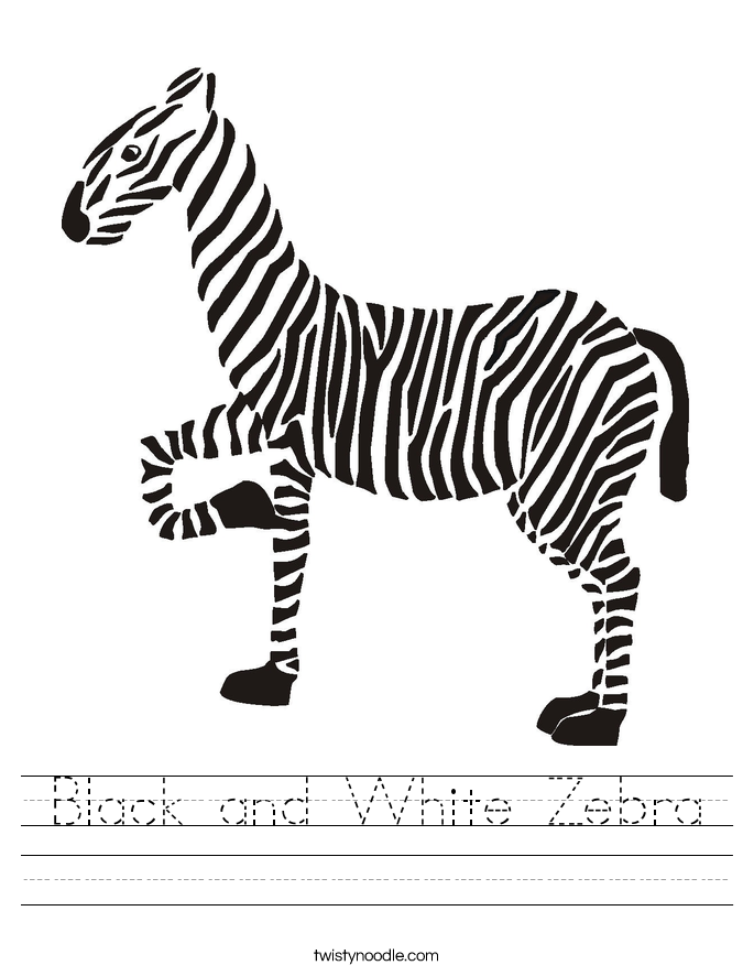 Black and White Zebra Worksheet