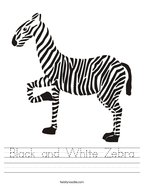 Black and White Zebra Handwriting Sheet