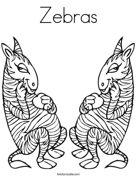 Two Zebras Coloring Page