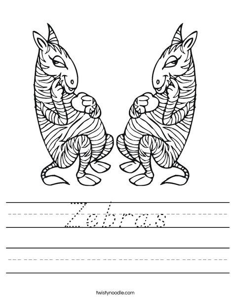 Two Zebras Worksheet