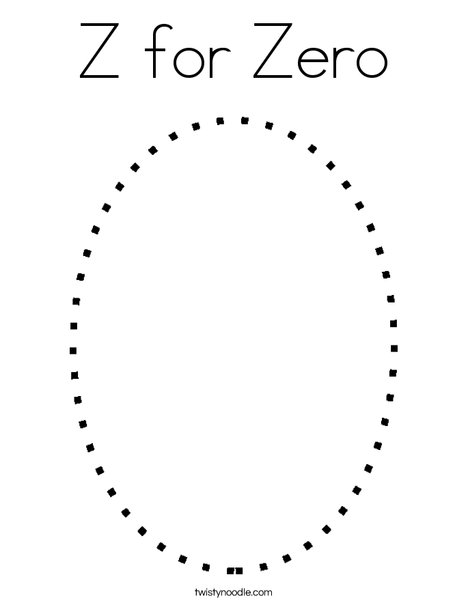 Z For Zero Coloring Page