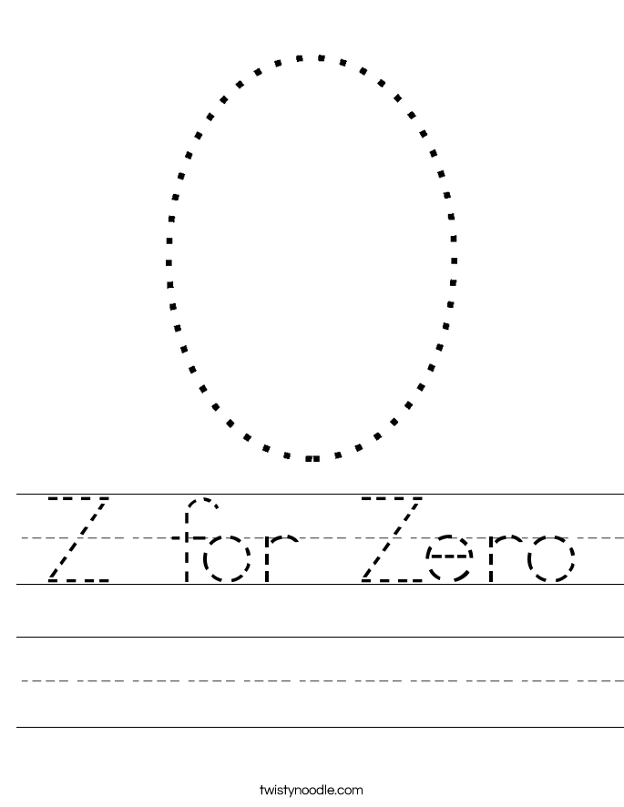 Z for Zero Worksheet