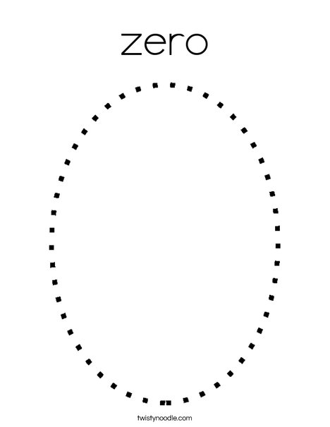 Number Zero Coloring Page Zero Coloring Page