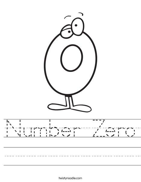 Number Zero Worksheet - Twisty Noodle