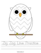 Zig Zag Line Practice Handwriting Sheet