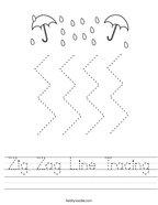 Zig Zag Line Tracing Handwriting Sheet