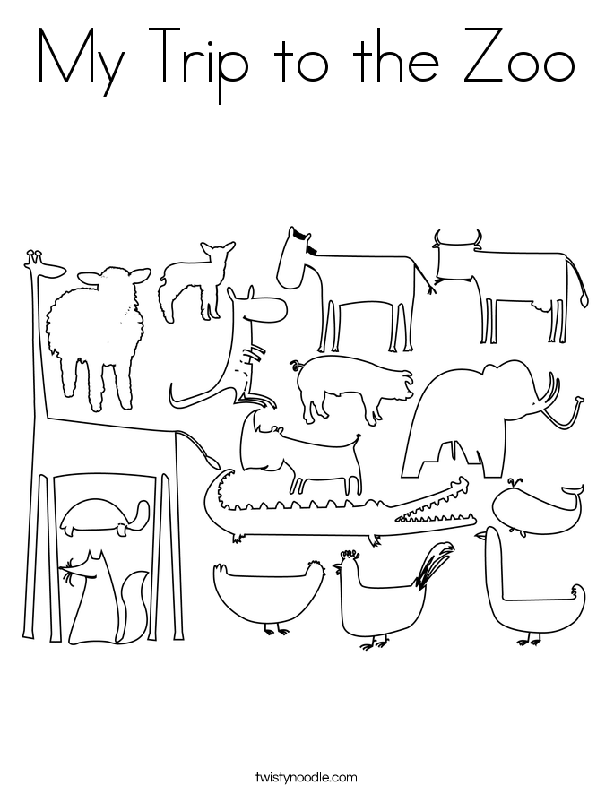My Trip to the Zoo Coloring Page