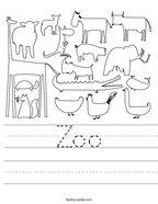 Zoo Handwriting Sheet